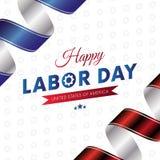 Festa del Lavoro felice Priorità bassa bianca Bandierina d'ondeggiamento Nastri rossi e blu di pendenza Innesta la priorità bassa Immagine Stock