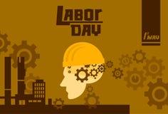 Festa del lavoro internazionale, esterno della fabbrica del casco di usura di uomo, concetto di sicurezza del lavoratore illustrazione di stock