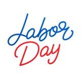 Festa del Lavoro Iscrizione dell'etichetta con lettere per la celebrazione di festa del lavoro di U.S.A. Festa del Lavoro felice Immagini Stock