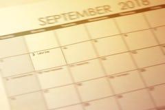Festa del lavoro nel fuoco selettivo sul calendario semplice del settembre 2018 Fotografie Stock Libere da Diritti