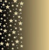 Festa del nuovo anno, della cartolina di Natale con le stelle gialle e scintille su ahalf del nero protetto per ingiallire fondo Fotografia Stock