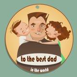Festa del papà felice della cartolina d'auguri Fotografia Stock Libera da Diritti