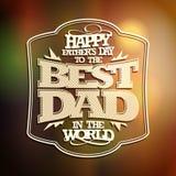 Festa del papà felice della retro carta tipografica Fotografie Stock Libere da Diritti