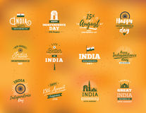 Festa dell'indipendenza dell'India, il 15 agosto emblemi di vettore illustrazione di stock