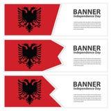 Festa dell'indipendenza della raccolta delle insegne della bandiera dell'Albania Fotografia Stock Libera da Diritti