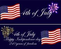 Festa dell'indipendenza delle cartoline d'auguri di U.S.A. con la bandiera nazionale ed il fuoco d'artificio Fotografie Stock Libere da Diritti