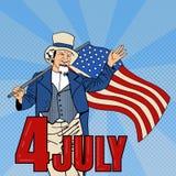 Festa dell'indipendenza di U Uomo maggiore con la bandiera americana Pop art Fotografie Stock Libere da Diritti