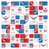 Festa dell'indipendenza felice di U.S.A. - quarto dell'insieme di vettore del Th di luglio-luglio 4 Fotografie Stock
