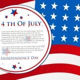 Festa dell'indipendenza felice il quarto luglio Fotografia Stock