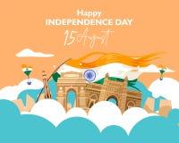 Festa dell'indipendenza felice India 15 agosto per l'aletta di filatoio, manifesto, progettazione del fondo dell'insegna royalty illustrazione gratis