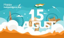 Festa dell'indipendenza felice India, aletta di filatoio, manifesto, progettazione del fondo dell'insegna per il 15 agosto con fo illustrazione vettoriale