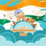 Festa dell'indipendenza felice India Per l'aletta di filatoio, manifesto, progettazione del fondo dell'insegna Con il concetto la illustrazione vettoriale