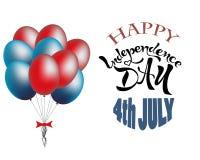 festa dell'indipendenza festa felice dell'iscrizione del testo del 4 luglio illustrazione di stock