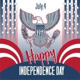 Festa dell'indipendenza felice Festa dell'indipendenza 4 luglio 1776 illustrazione vettoriale