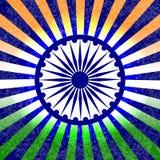 Festa dell'indipendenza dell'India 15 August Rays dal centro I colori della bandiera sono verdi, bianco, zafferano Ruota blu con  Fotografie Stock