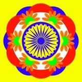 Festa dell'indipendenza dell'India 15 August Wheel con 24 raggi Fondo luminoso con una mandala Fotografia Stock Libera da Diritti