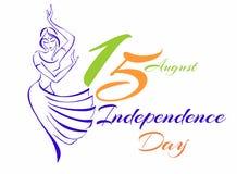 Festa dell'indipendenza dell'India Cartolina d'auguri Schizzo di una ragazza dell'indiano di dancing Illustrazione di vettore illustrazione di stock