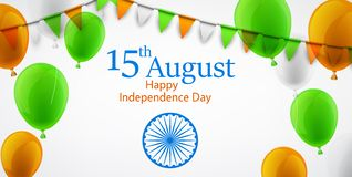Festa dell'indipendenza dell'India quindicesimo August Card a colori del nationa Illustrazione Vettoriale