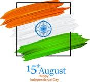 Festa dell'indipendenza dell'India quindicesimo August Card con la bandiera nazionale illustrazione vettoriale