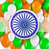Festa dell'indipendenza indiana Fondo di celebrazione con la ruota di Ashoka Immagini Stock Libere da Diritti
