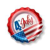 Festa dell'indipendenza 4 luglio con il tappo di bottiglia della bibita immagine stock
