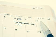 Festa dell'indipendenza sul calendario Fotografia Stock Libera da Diritti