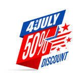 Festa dell'indipendenza vendita e sconto del 4 luglio Insegna per U.S.A. Inde Fotografia Stock
