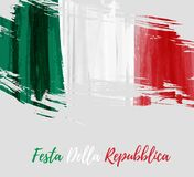 Festa della Repubblica -  Italian Republic Day. Holiday background with grunge watercolor imitation flag of Italy. Festa della Repubblica Italian Republic Day Royalty Free Stock Images