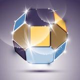 Festa den dimensionella uttrycksfulla brusandespegelbollen med geometri royaltyfri illustrationer