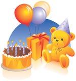 Festa di compleanno - torta, presente Immagini Stock Libere da Diritti