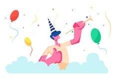 Festa di compleanno Uomo allegro in cappello festivo che gioca tubo che celebra evento di festa di compleanno su fondo variopinto illustrazione di stock