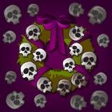 Festa di Halloween di stile della cartolina o del manifesto Corona rotonda con gli ornamenti sotto forma di crani umani miniatura royalty illustrazione gratis