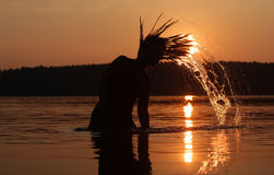 Festa di tramonto nel lago Immagine Stock Libera da Diritti