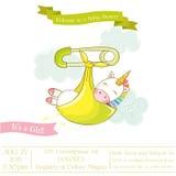 Festa do bebê ou cartão de chegada - bebê Unicorn Girl Fotografia de Stock
