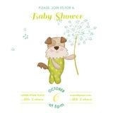 Festa do bebê ou cartão de chegada - cão do bebê Imagem de Stock