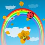Festa do bebê ou joaninha do deus da chegada em um arco-íris ilustração do vetor