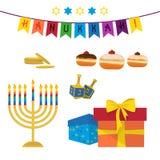 Festa ebrea di Chanukah, insieme di simboli Immagini Stock
