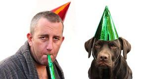 festa för hundman royaltyfria bilder