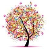 Festa felice, albero divertente con gli aerostati Fotografia Stock
