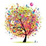 Festa felice, albero divertente con i baloons Immagini Stock Libere da Diritti
