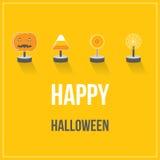 Festa felice di Halloween con progettazione piana della caramella Fotografia Stock Libera da Diritti