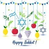 Festa felice di sukkot Sukkot ebreo di festa Nuovo anno ebreo di vettore Autumn Fest Rosh Hashana Israel Sukkah Isola mediterrane illustrazione vettoriale