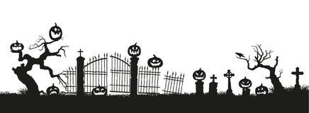 Festa Halloween Siluette nere delle zucche sul cimitero su fondo bianco Cimitero ed alberi rotti Fotografia Stock