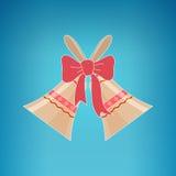 Festa Jingle Bells su un fondo blu Immagine Stock Libera da Diritti