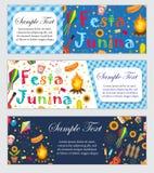 Festa Junina横幅设置了与文本的空间 您的设计的巴西人拉丁美洲的节日模板与传统 图库摄影