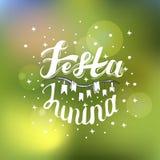 Festa Junina Σχέδιο καρτών διακοπών για το βραζιλιάνο φεστιβάλ de Sao Joao Ιουνίου στο θολωμένο υπόβαθρο Γράφοντας απεικόνιση Στοκ Φωτογραφία