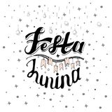Festa Junina Σχέδιο καρτών διακοπών για το βραζιλιάνο φεστιβάλ de Sao Joao Ιουνίου Γράφοντας απεικόνιση Στοκ Φωτογραφία