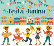 Festa Junina - φεστιβάλ της Βραζιλίας Ιούνιος Διακοπές λαογραφίας χαρακτήρες Στοκ Εικόνες