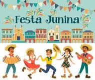 Festa Junina - фестиваль Бразилии июня Праздник фольклора характеры Стоковые Изображения