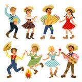 Festa Junina - фестиваль Бразилии июня Праздник фольклора характеры Стоковое фото RF